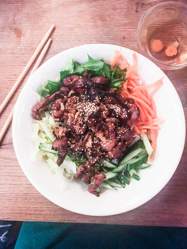 Bún with barbecued sesame pork. at the Vietnamese Restaurant Quan Do in Hamburg