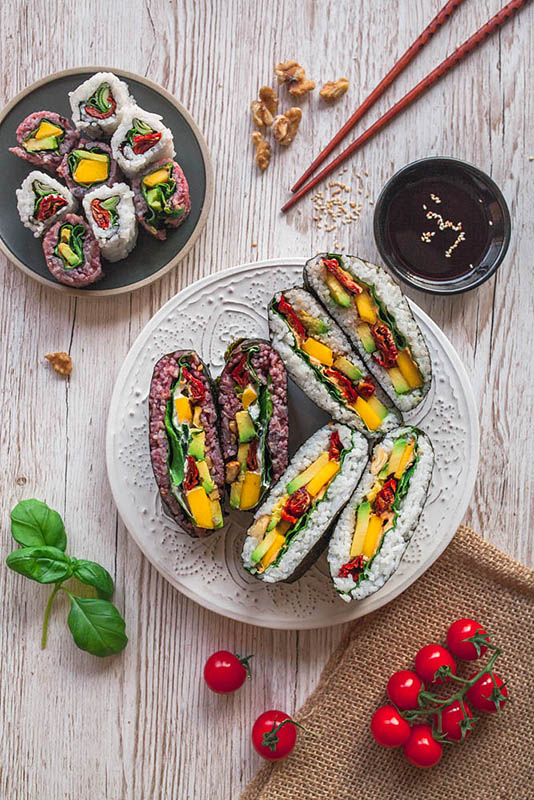 Vegetarian Onigirazu Recipe (Rainbow Sushi Sandwiches)