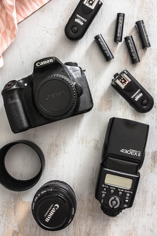 A collection of food photography equipment: Camera, lens, flash, triggers and batteries