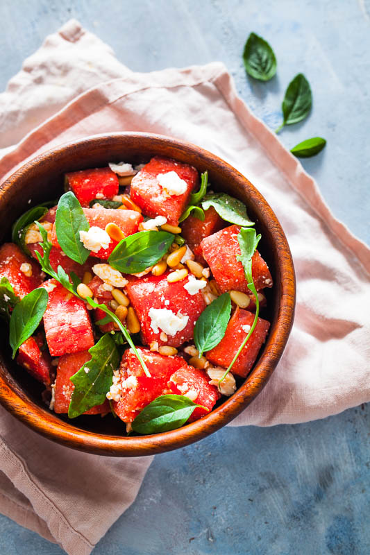 Feta Watermelon Basil Salad (with vegan option)