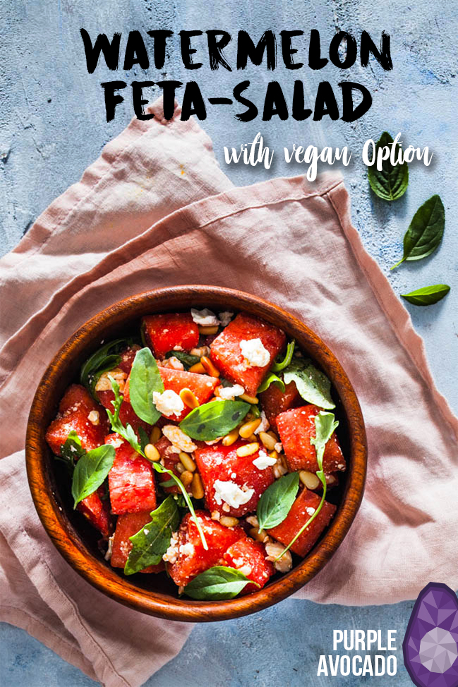 Fresh summer salad for the extremely hot days - watermelon basil feta salad with pine seeds (and vegan options) #vegetarian #vegan #summer #salad #ideas #inspiration #foodstyling