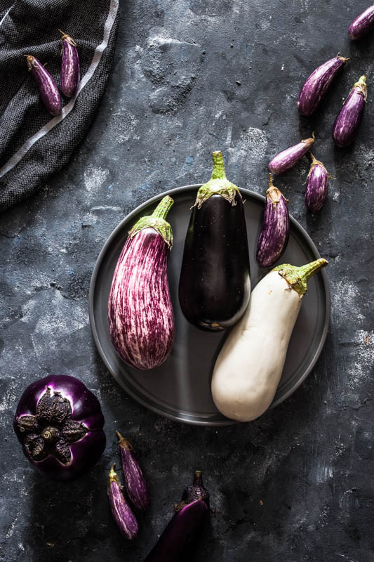 Dutch aubergines / Dutch egg plants in different sizes, shapes and colours