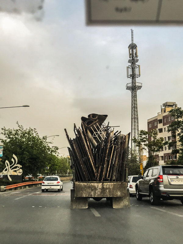 A fully loaded truck on the streets in Iran