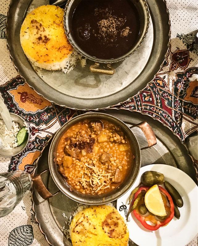Food at Haft Khan restaurant in Shiraz