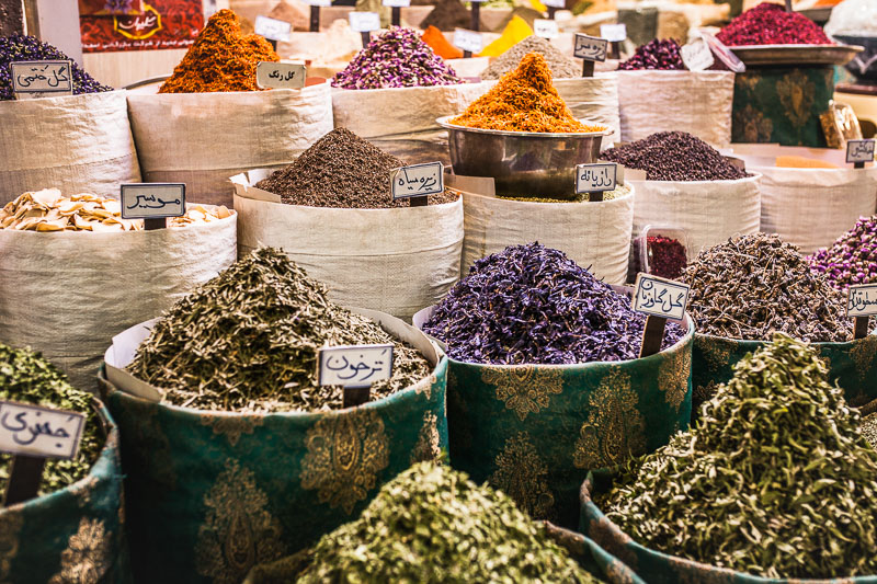 Colourful herbs and spices at Vakil Bazar, Shiraz