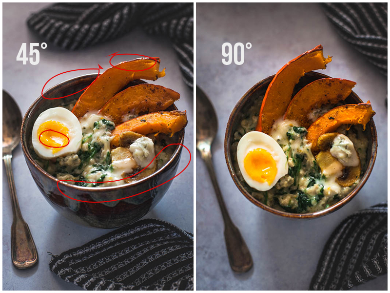 comparison of two shots of the same subject but shot at two different angles - 45° and 90°. It becomes obvious that the 45° angle produces more backlight reflexes that make the food and porcellain look more aesthetic